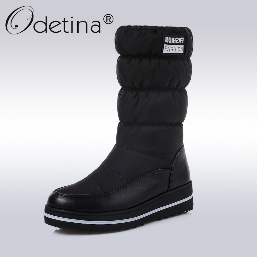 Odetina Winter Snow Boots Women Warm Plush Down Mid-Calf Boots Ladies 2017 Fashion Round Toe Platform Shoes Short Boots Black double buckle cross straps mid calf boots