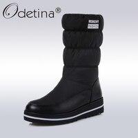 Odetina Winter Snow Boots Women Warm Plush Down Mid Calf Boots Ladies 2017 Fashion Round Toe