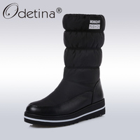 Odetina Winter Snow Boots Women Warm Plush Down Mid Calf Boots Ladies 2017 Fashion Round Toe