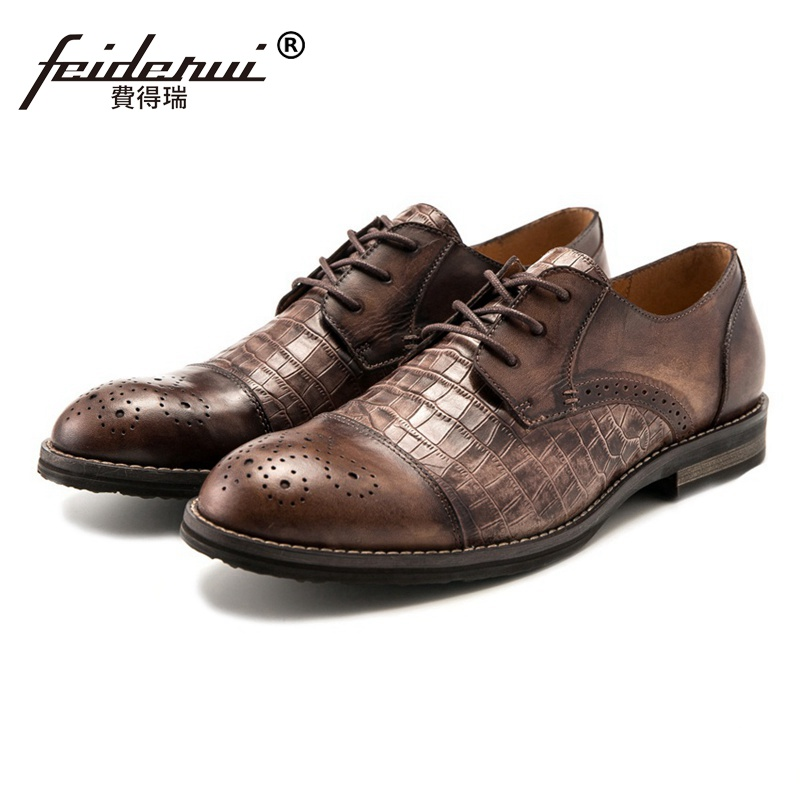 Vintage British Designer Round Toe Derby Man Formal Dress Shoes Genuine Leather Carved Men's Handmade Semi Brogue Footwear SS97 krusdan british style vintage man brogue shoes genuine leather handmade oxfords round toe derby formal dress men s flats nk63