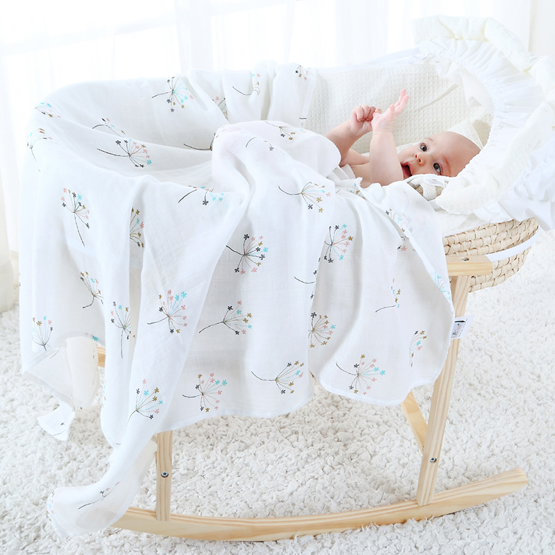 Baby Blanket For Children Super Soft Cotton Bamboo Muslin Swaddle For Newborns Multifunction Wrap Carseat Cover Nursing Cover