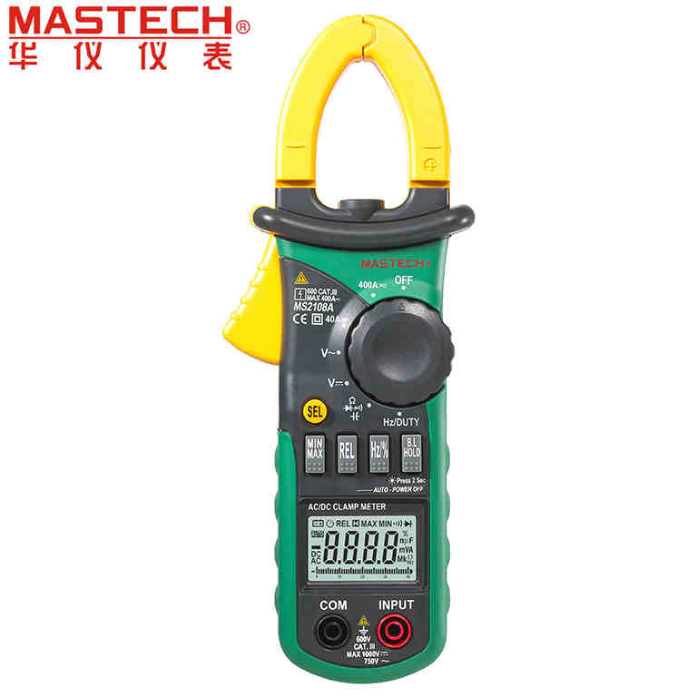 Mastech MS2108A Auto Range DC AC Current Voltage Frequency Meter Tester Digital Clamp Meter Multimeter Backlight digital clamp meter mastech ms2108a auto range multimeter ac 400a current voltage frequency clamp multimeter tester backlight