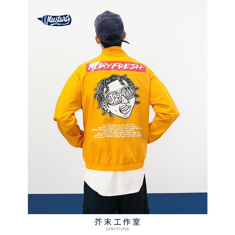 JIEMO Character Print Patchwork Windbreaker Hooded Jacket Men Hip Hop Full Zip Up Tracksuit Jacket Fashion Streetwear 8364S