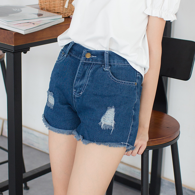 Princess Sweet Lolita Shorts Summer Sweet Soft Sister Hole Jeans With Small Fur-trimmed Shorts All Match And Slim Shorts LG103