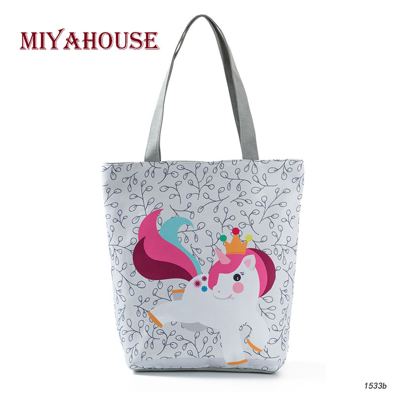 Colorful Cartoon Unicorn Printed Shoulder Bag Women Large Capacity Casual Canvas Tote Handbag Female Summer Beach Bag