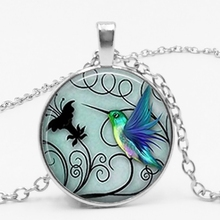 Handmade Photo Clips Blue Hummingbird Necklace Hummingbird Pendant Glass Bird Jewelry Art Glass Cabochon Necklace hummingbird hummingbird ранец ортопедический 50тк super big trucks