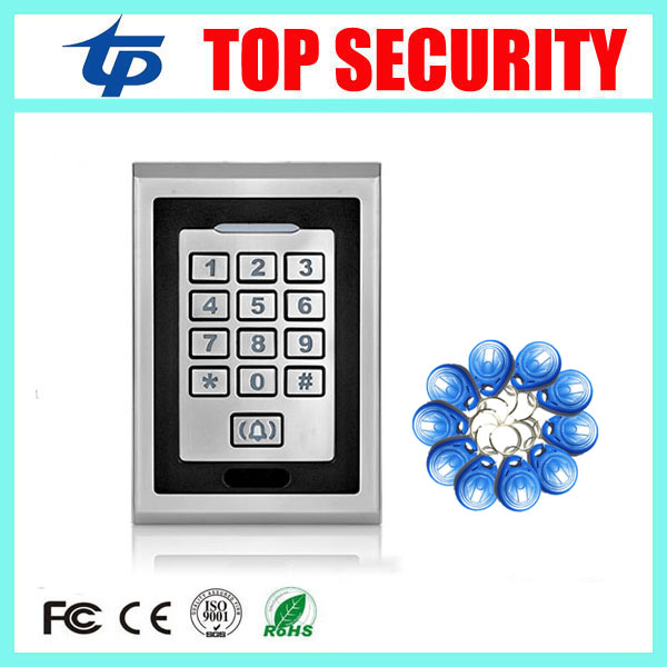Good quality standalone single door access control system metal card reader 8000 users surface waterproof RFID access controller rfid ip65 waterproof access control touch metal keypad standalone 125khz card reader for door access control system 8000 users
