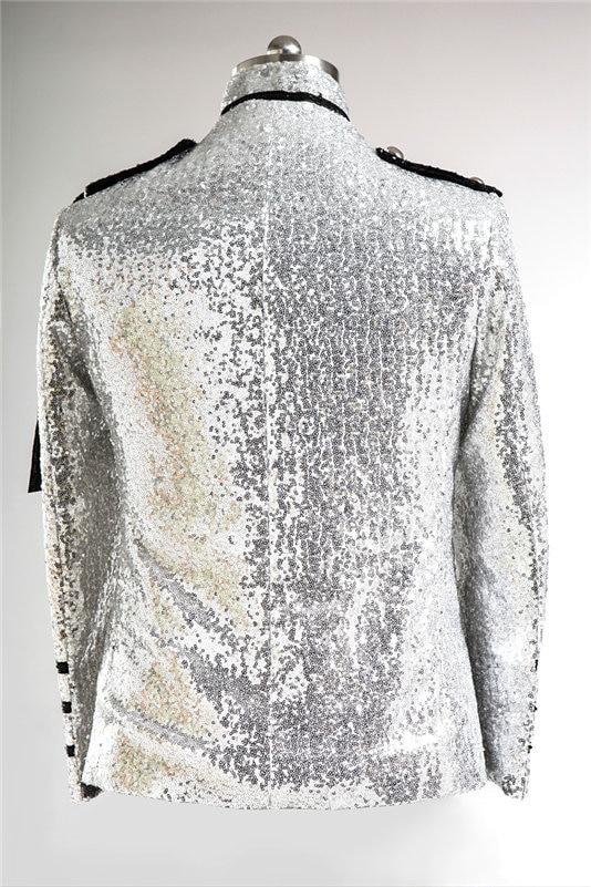 Vyriški blizgantys sidabro sidabriniai kostiumai Kostiumai Homme - Vyriški drabužiai - Nuotrauka 3