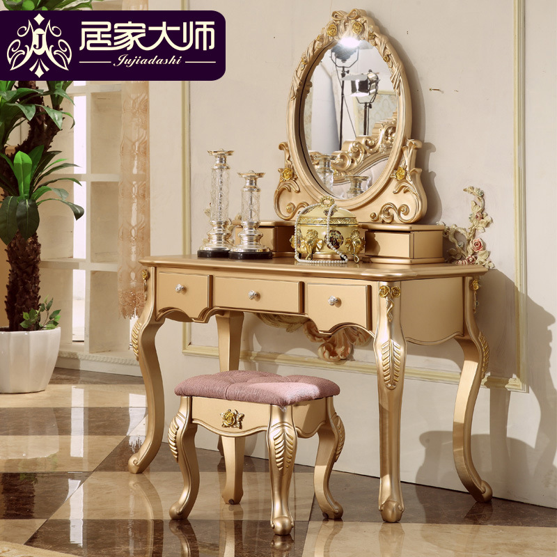 French Classical Bedroom Furniture Makeup Table Mirrors Dressing Tables  Vanity Desk Luxury Dresser With Solid Wood Frames D04 In Dressers From  Furniture On ...