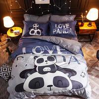 Luxury Comforter Bedding Set Crystal Velvet Bed Linen Twin Queen Size Panda Duvet Cover Set Pillowcase Warm Bed Sheet 4styles