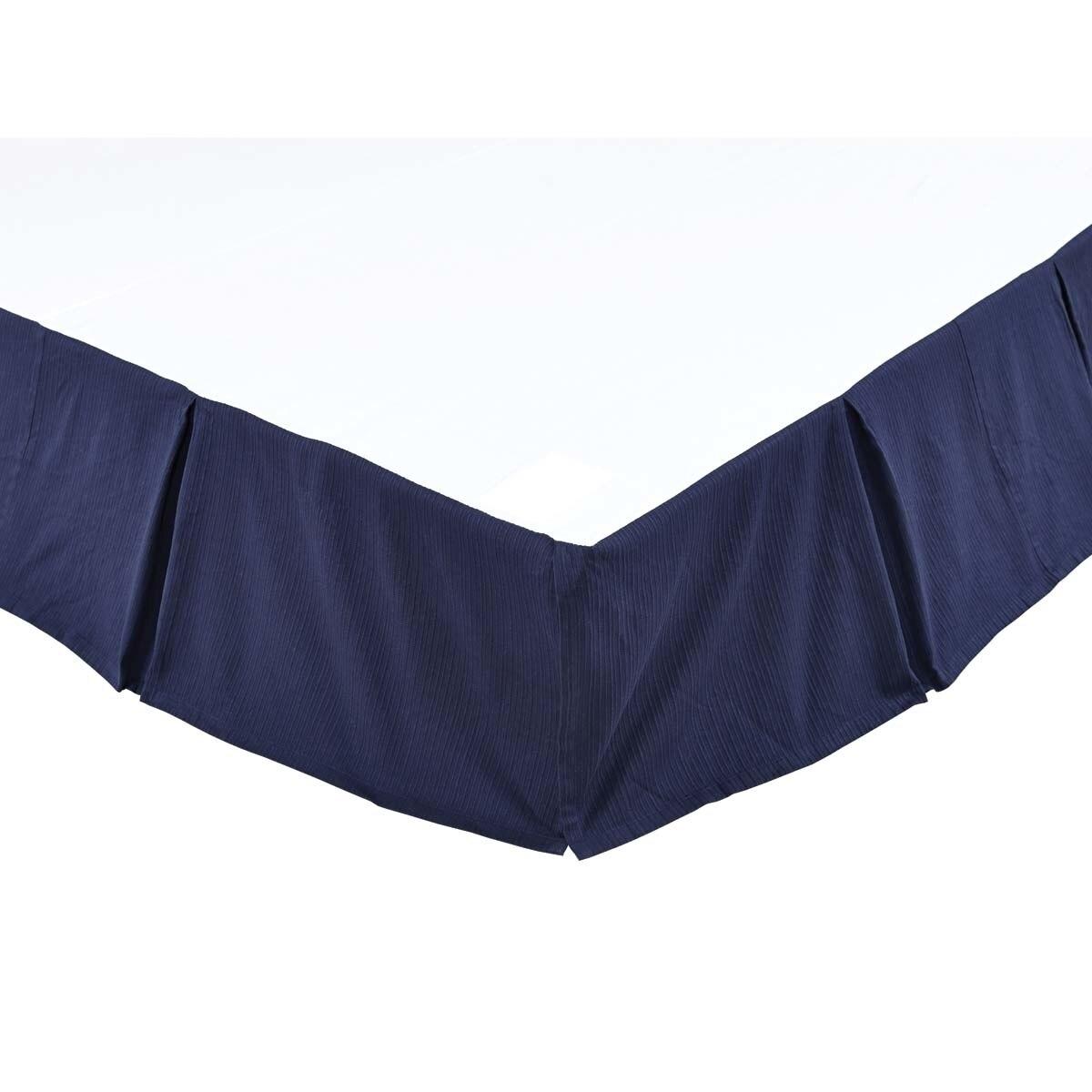 Farmhouse Bedding Carter Blue Bed Skirt