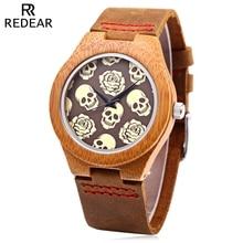 REDEAR Women Quartz Watch Imported Movt Skull Pattern Wooden Case Wristwatch