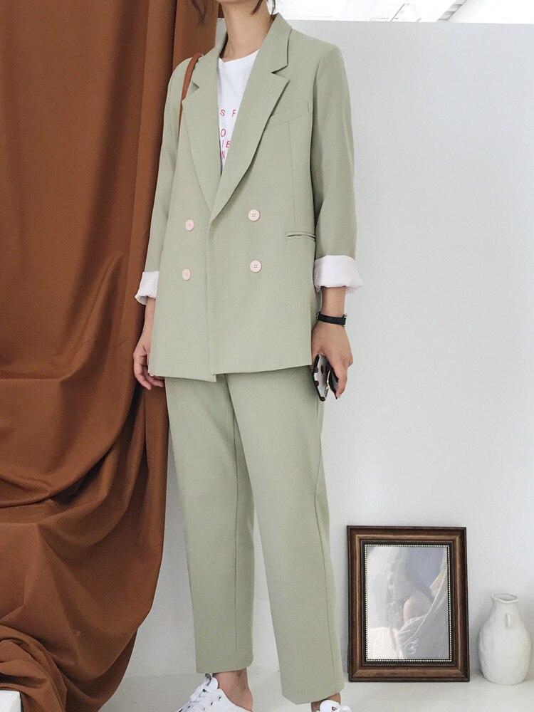 Ol Usure De Dames Lâche breasted Automne Suit Et Occasionnel Deux Costume fruit Noir Jq373 Mode Double Femmes Printemps piece Professionnel Green w7xzv8nq