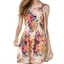 2019 Womens Print Dress Ladies Sleeveless Party Summer Beach Casual Dresses