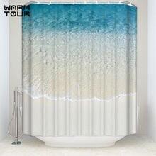 Extra Long Fabric Bath Shower Curtains 66 X 72 Blue Rippled Summer Sandy Beach Mildew Resistant Bathroom Decor Sets With Hooks