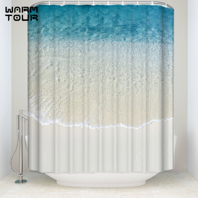Extra Long Fabric Bath Shower Curtains 66 X 72 Blue Rippled Summer