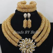 Chunky Gold Crystal Beads Women Necklace Bridal Fashion Jewelry Wedding African Beads Jewelry Set 2016 Free Shipping ABF470