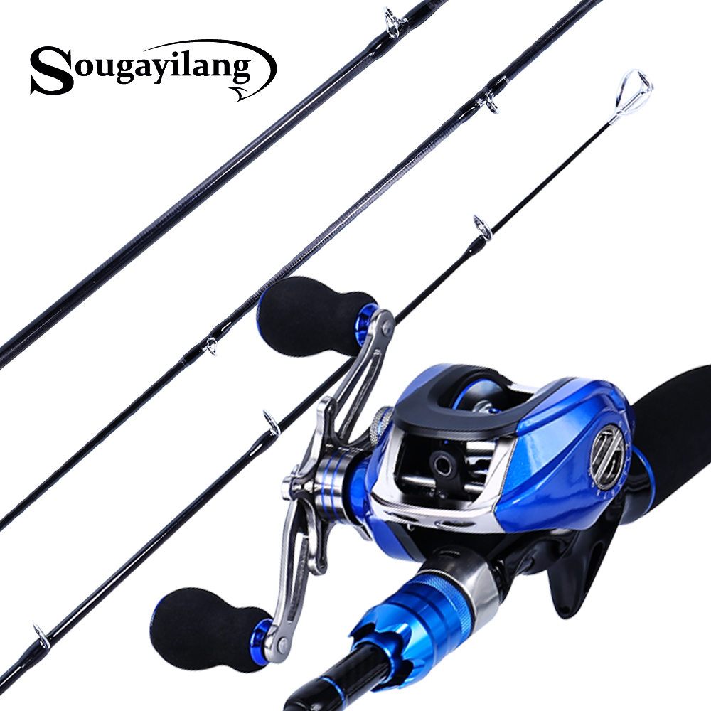 Sougayilang Blue Fishing Lure Rod and Baitcasting Reel Combo Carbon Casting Spinning Rod and Casting Fishing
