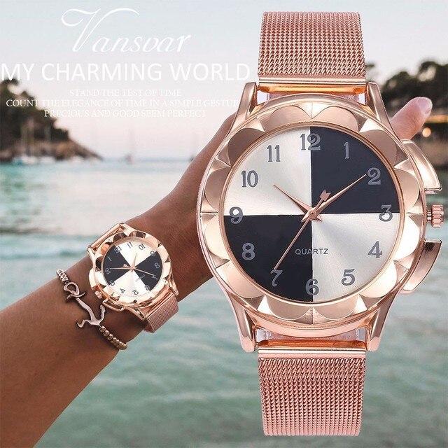 Drop Shipping Fashion Women Rose Gold Wrist Watches Luxury Casual Female Dress Q