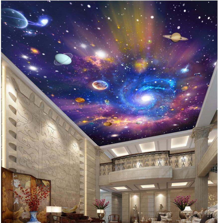 popular galaxy wall mural buy cheap galaxy wall mural lots from 3d ceiling wallpaper custom photo mural the milky way galaxy room decoration painting 3d wall murals