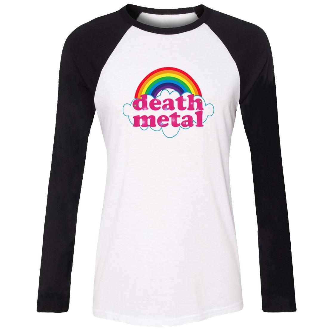 281981b975e iDzn New Women s Casual T shirt Death metal music heavy unicorn rainbow  Pattern Raglan Long Sleeve Girl s T shirt Lady Tee Tops-in T-Shirts from  Women s ...