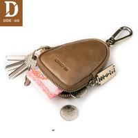 DIDE 2019 Business Genuine Leather Car Key Wallets Men Vintage Mini Purse Small Zipper Coin Wallet Male Keys Case housekeeper
