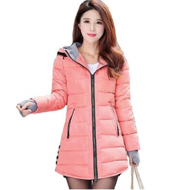 New Women Winter Hooded Warm Coat Plus size Candy Color Cotton Padded Jacket Female Long   Parka   Womens Wadded Jaqueta Feminina