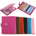 Unisex 20 Slots ID Credit Business Card Holder Candy Color Faux Leather Case
