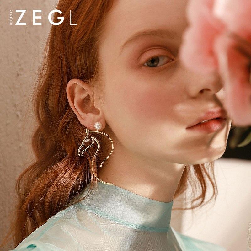 ZEGL 925 sterling silver needle earrings long earrings for women horse animal earrings trendy earrings 2019ZEGL 925 sterling silver needle earrings long earrings for women horse animal earrings trendy earrings 2019