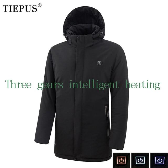 TIEPUS new winter jacket men models solid color USB infrared intelligent heating warm Hooded windbreaker coat men size 7XL 8XL