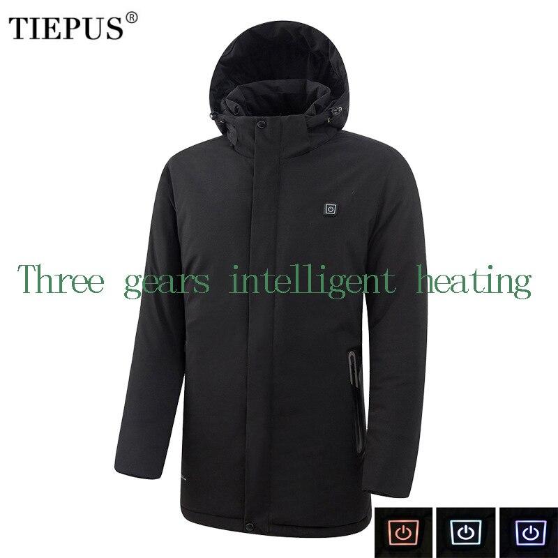 TIEPUS nowa kurtka zimowa mężczyźni modele jednolity kolor na podczerwień USB inteligentne ogrzewanie ciepłe z kapturem wiatrówka płaszcz mężczyźni rozmiar 7XL 8XL w Parki od Odzież męska na  Grupa 1
