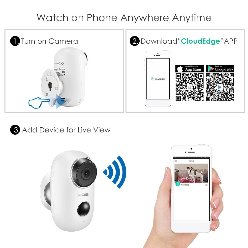 ZOSI WiFi Camera Rechargeable Battery Powered 720P/1080P Full HD Outdoor  Indoor IP65 Weatherproof Security Wireless IP Camera
