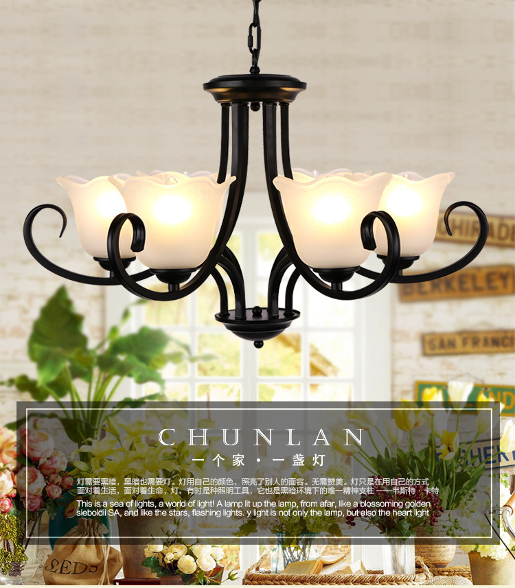 X American Village Iron Curtain European Living Room Restaurant Light Industrial Wind wrought iron glass Chandelier LED european style retro glass chandelier north village industrial study the living room bedroom living rough bar lamp loft