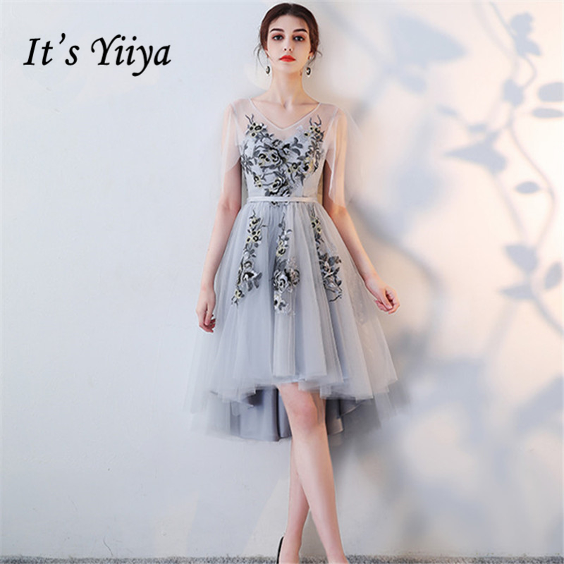 It's YiiYa Bridesmaids Dresses V-Neck Flower Embroidery Tulle Formal Dress Lace Up Illusion Lady Fashion Designer LX1003