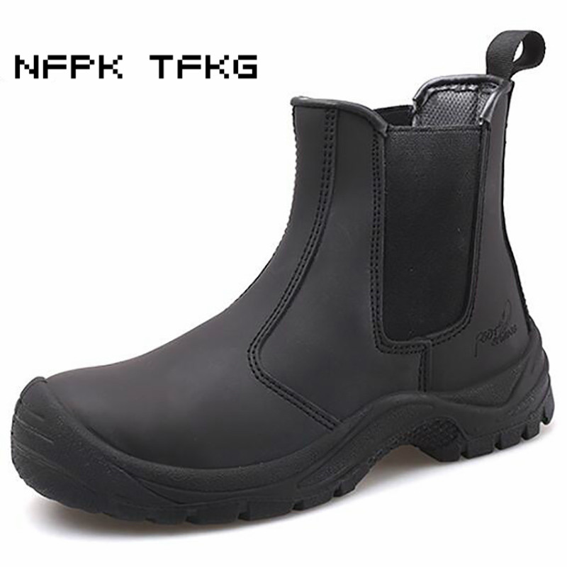 Plus Size Men's Luxury Fashion Steel Toe Covers Work Safety Shoes Genuine Leather Platform Worker Shoe Security Ankle Boots Male