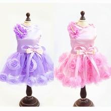 Lace Flower Puppy Wedding Dresses Cat Dog Princess Dress Pet Summer Clothes Cat Dog Tutu Dress Teddy Yorkshire Clothing