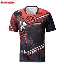 Одежда Kawasaki, мужская рубашка для бадминтона, спортивная одежда для бадминтона, v-образный вырез, короткий рукав, анти-пот, для почты, теннисная рубашка, ST-S1105