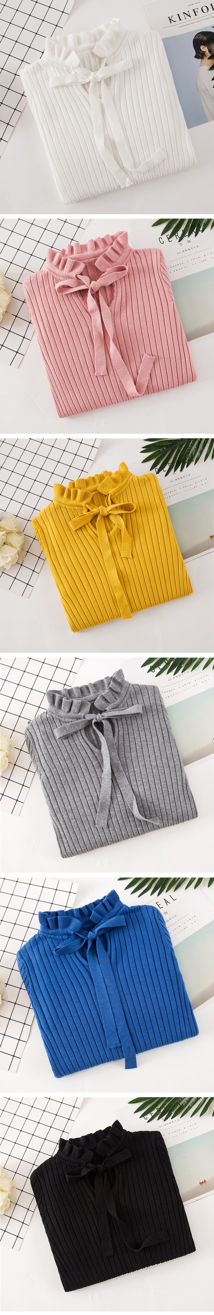 18 Autumn Winter Knitted Sweater Pullover Pull Femme Cute Warm White Yellow Lace Up Ruffles Turtleneck Women Sweater Jumper 3