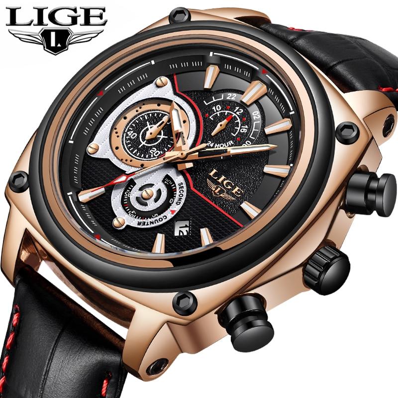 2018 Новый LIGE Для мужчин s часы лучший бренд класса люкс Повседневное Водонепроницаемый спортивные часы Для мужчин Военная кожа кварцевые час