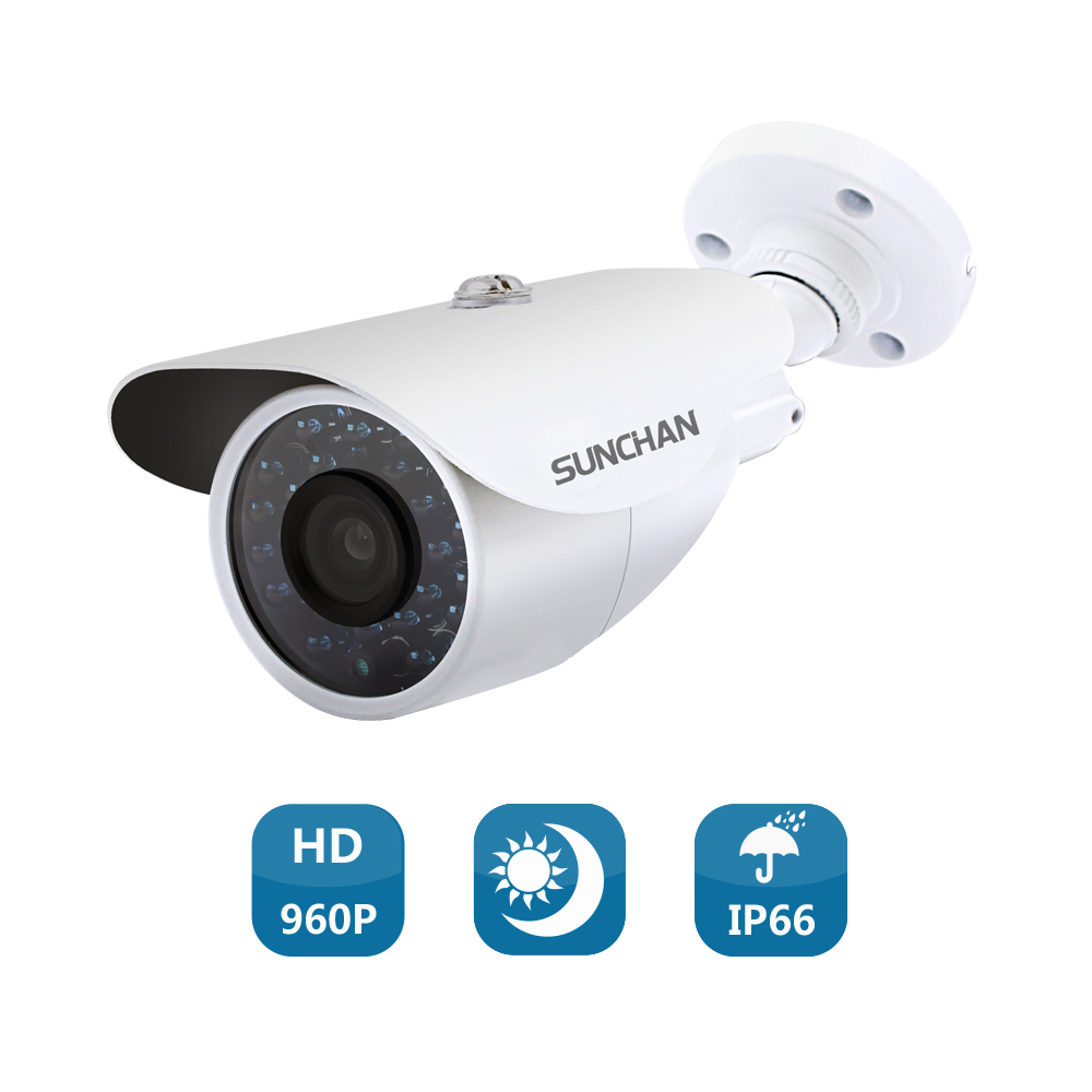 SunChan High Quality AHD Camera Color CMOS 1500TVL 1.3MP 24 IR LED Night Vision Waterproof Camera Outdoor CCTV Camera w/Bracket