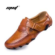 Hecho a mano de Cuero Genuino Pisos Marca de Lujo de Los Hombres de Los Holgazanes de Los zapatos Ocasionales de Los Hombres Cómodos Zapatos de Conducción Suave Resbalón Mocasines