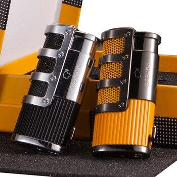 COHIBA Gadgets Gridding ลายสไตล์กระเป๋าแก๊สบิวเทนแก๊ส Windproof 3 ไฟฉาย Jet Flame ซิการ์บุหรี่ไฟแช็ก W/Punch & ของขวัญกล่อง