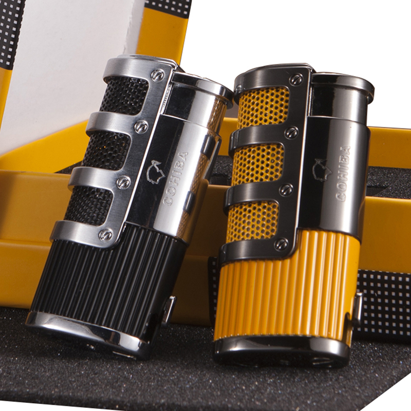 COHIBA Gadgets Gridding Stripes Style Pocket Butane Gas Windproof 3 Torch Jet Flame Cigar Cigarette Lighter