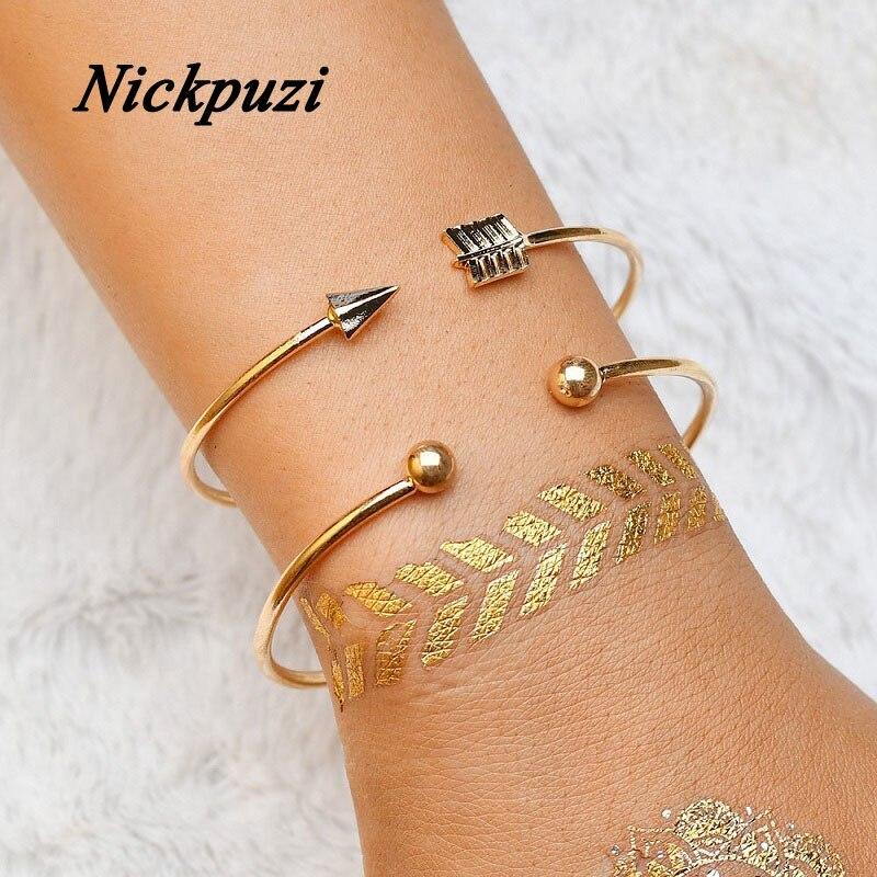 Nickpuzi 2Pcs/set Adjustable Gold Bangles Knot Arrow Cuff Bangle for Women Simple Style Charm Statement Jewelry
