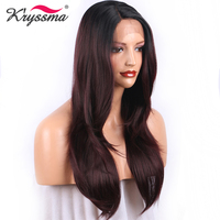 Burgundy Synthetic Lace Front Wig for Women Red Wine Long straight Ombre Wig with Dark Roots Ship from USA Heat Resistant Fiber
