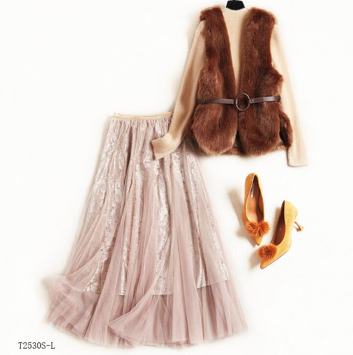 Mode Nouveautés Photo Européen Vêtements Style Couleur Color Jupe Solide Hiver Automne Chemisier Costume Maille Femmes Décontracté T2530 2018 Patchwork qfEFwFnX