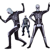 Adult Kids Game Cospaly Costume Battle Royale Skull Trooper Cosplay Costume Zentai Bodysuit Fortniter Suit Jumpsuits Halloween