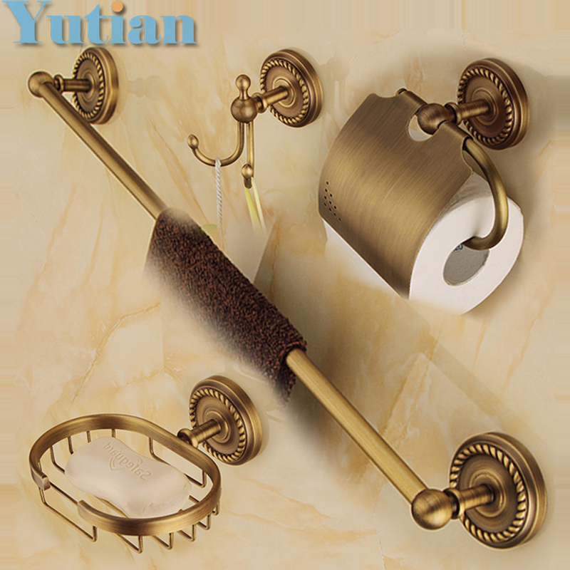 Free shipping,solid brass Bathroom Accessories Set,Robe hook,Paper Holder,Towel Bar,soap basket,bathroom sets,YT-12200-B free shipping european style brass antique soap dish solid brass bathroom soap holder soap basket bathroom accessories shelf