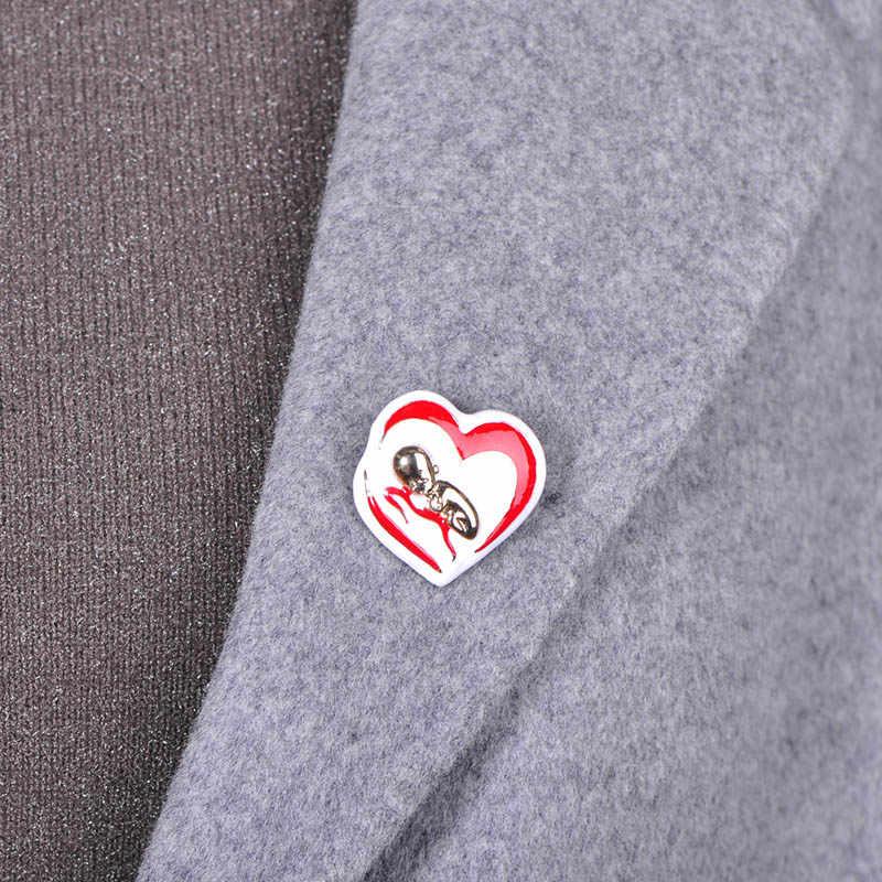 Blucome Fashion Merah Enamel Bros Hati Campuran Perhiasan untuk Wanita Pesta Anak Sweater Scarf Pakaian Kerah Pin Baru Lahir Bayi Hadiah