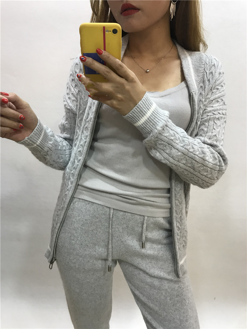 2019 Drawstring Wool Fiber Full Zipper V-neck Winter New Knitted Cashmere Two-piece Women Two Piece Outfits Set Top And Pants